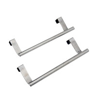 "Evelots Set Of 2 Over the Cabinet 9"" Towel Bars, Brushed Stainless Steel"
