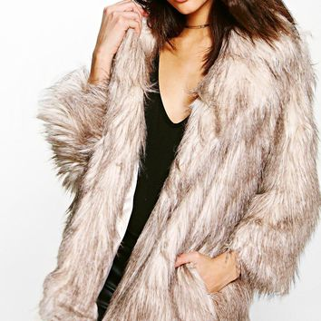 Lois Shaggy Faux Fur Coat | Boohoo