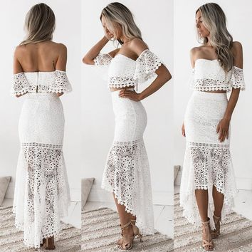 Sexy Lace Hollow Out 2 Piece Set Women Backless Crop Top Ruffles Long Pencil Skirts Two Piece Set ensemble femme chandal mujer