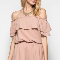 Taupe Off The Shoulder Romper
