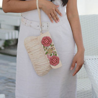 Clutch with embroidered flower embellishment, linen clutch, bridal clutch, bridesmaid clutch