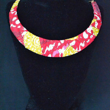 Pink, Red, and Yellow Ankara Necklace