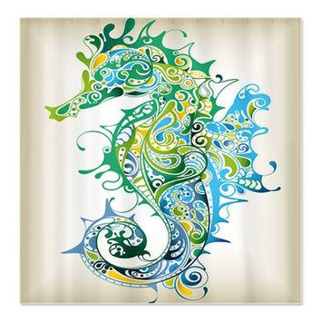 Seahorse Shower Curtain by BeachShowerCurtains