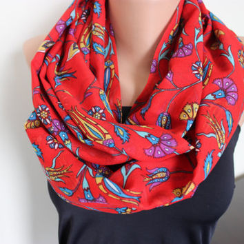 Coral Red Yellow Floral Tile Print Scarf, Red Carnation Tile Print Loop Scarf Cotton Gauze Yemeni Scarf Floral Print Infinity Scarf, Gifts