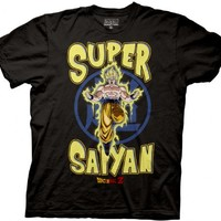 Dragonball Z Super Saiyan Yellow Text Black Mens T-Shirt