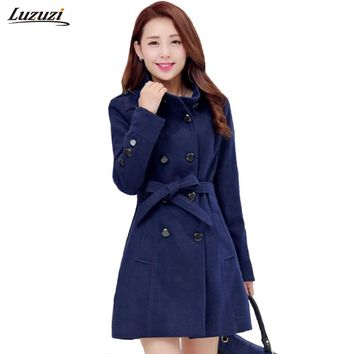 1PC Double Breasted Wool Coat Women Basic Coats Slim Fit Overcoat Casaco Feminino Abrigos Mujer Spring Autumn Trench Coat Z014