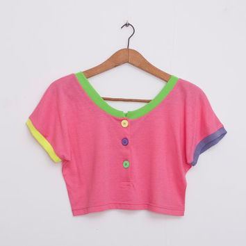 NOS vintage pink crop top size S colorfull playfull
