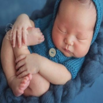 Knit Newborn Baby Crochet Romper Hooded Outfit CCC110