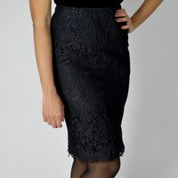 Pencil Skirt, 90's Vintage Skirt, Black Lace Skirt, Wiggle Skirt, High Waisted Skirts, Above the Knee, Size Large