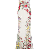 Alexander McQueen - Embroidered Floor-Length Gown with Tulle