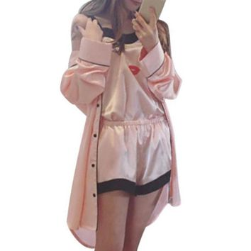 4 Pcs/set Women Summer Satin Pajamas Top Shorts Robe Eye Mask Sleepwear Set