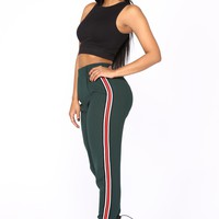 Katrina Side Stripe Crop Pants - Olive