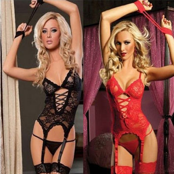 Women's Black Red Sexy Erotic Lace Lingerie Underwear Sleepwear Nightwear Set = 1932481284