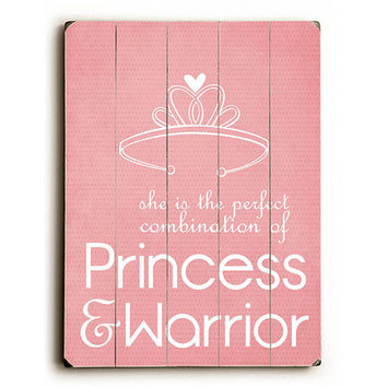 Princess & Warrior by Artist Cheryl Overton Wood Sign
