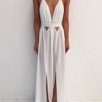 Simple white chiffon long prom dress, white formal dress