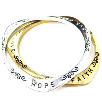 Triangular Hope Love Faith Letter Bangle Bracelet in Gold