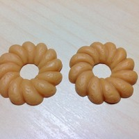 2 pcs Light Brown Donuts PVC Cabochon Flatback 30 x 30 mm