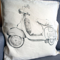 Vespa pillowcase, eco friendly Pillow, Pinup Throwpillow, hand panted motorcycle, vintage 100% cotton cushion