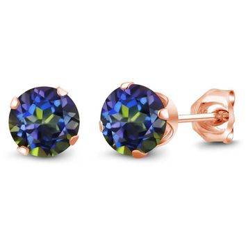 1.20 Ct Round Shape Blue Mystic Topaz Rose Gold Plated Silver Stud Earrings