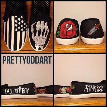 fall-out-boy-american-beauty-american-psycho-hand-painted-shoes-vans number 1