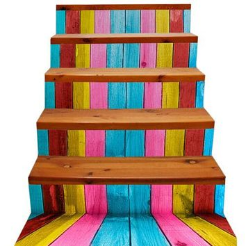New 3D DIY PVC Waterproof  Stair Decals Wall  Floor Sticker Colorful wood qs008