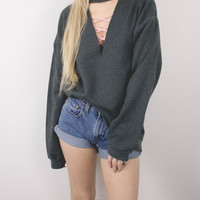 Vintage Gray Choker Cut Out Sweatshirt
