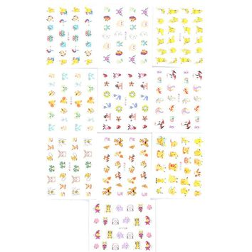 10Pcs/set Pokemon Go Christmas Pikachu 3D Nail Art Water Transfer Stickers Decals Fashion Beauty Nail Stickers Gifts