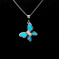 Opal Necklace Butterfly Necklace, Diamond Accent Silver Necklace, Blue Fire Opal Jewelry, October Birthstone Necklace, gifts for her