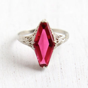 Antique 14k White Gold Simulated Ruby Ring - Size 7 Vintage Filigree Art Deco 1920s Pink Stone Fine Jewelry