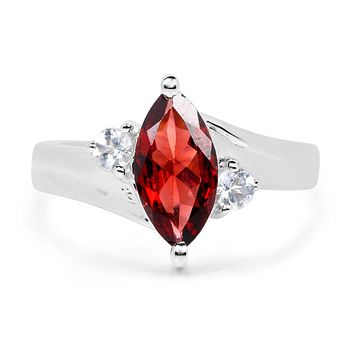 A Special Edition 2.25CT Marquise Cut Red Garnet Engagement Ring