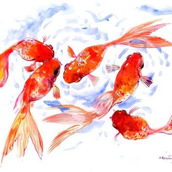 Asian ink Art Painting, Chinese watercolor, Two Koi, LArge Watercolor KOI watercolor Asian style painting, Zen Brush painting, feng shui