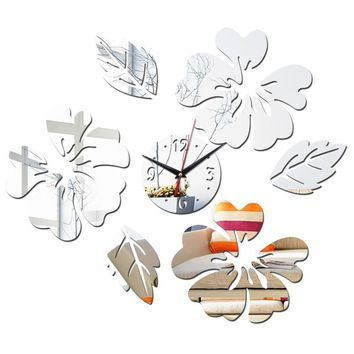 new fashion diy mirror stickers wall clock clocks Furniture Living Room Acrylic flower sticker Home Decoration free shipping