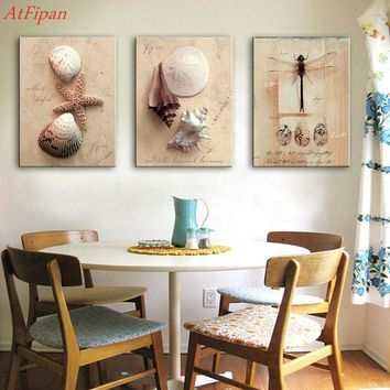 3 Pieces Abstract Oil Painting Sea Conch Shells Animal Painting Home Decor On Canvas Modern Wall Prints For Living Room