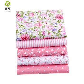 Shuanshuo Pink Color Cotton Textile Fabric Bundle Patchwork DIY Sewing Fabric For Baby Bedding Doll Clothes  40*50 cm