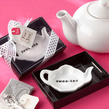 "24 ""Sweet-Tea"" Ceramic Tea Bag Caddy in Tray Bridal Wedding Favor in Gift Box"