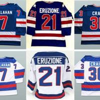 Ice Hockey Jerseys 1980 Miracle On Ice Team USA Jack O'Callahan 17# Mike Eruzione 21# Jim Craig 30# Hockey Jersey White Blue