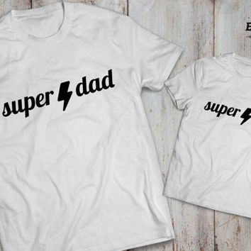 Super dad super kid father son matching shirts, Super dad super kid father son matching T-shirts, 100% cotton Tee, UNISEX