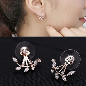 Charm Leaf Ear Jacket Stud Earrings