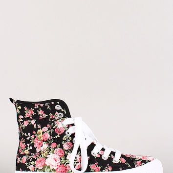 Misbehave High Top Floral Lace Up Sneaker
