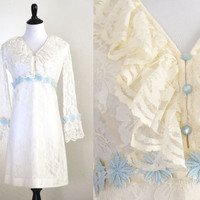 1960s Mod Mini Wedding Dress Ivory Lace and Blue Flowers
