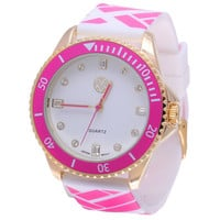 The Macbeth Collection Women's MBW023G-PK Color Fashion Rubber Band Watch