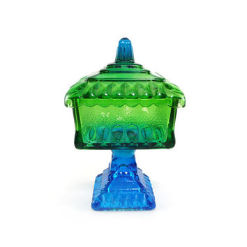 Teal blue & green vintage flashed glass compote