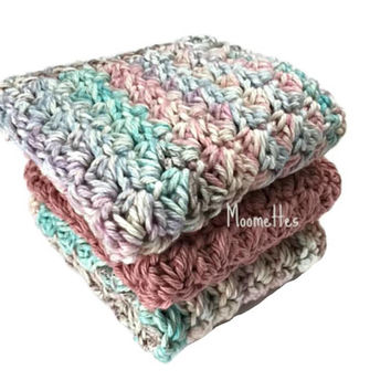 Handmade Dish Cloths Teal Blue Rose Pink Wash Cloth Cotton Kitchen Dishcloths Crochet Set of 3
