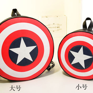 Captain America Small or Large Shield Bag Backpack Cosplay Costume School Child Teen kids boys girls