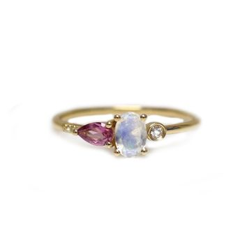 14kt Gold Rainbow Moonstone, Pink Tourmaline & Diamond Mia Ring