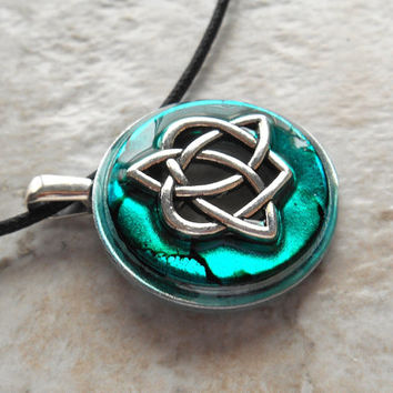 celtic sister knot necklace: teal - heart jewelry - triquetra necklace - celtic jewelry - unique gift - celtic knot - valentines day