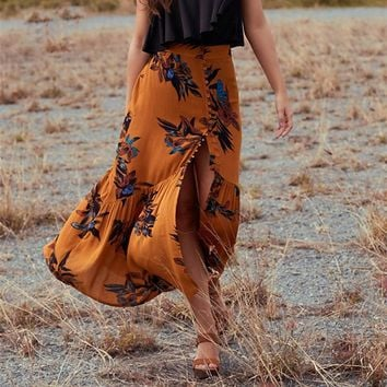 Skirts Womens Vintage Floral Print Long Skirt Gypsy Boho Chic Faldas Mujer Mermaid Hem Maxi Skirt Saia Longa