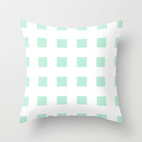 Cross Squares Mint Green Throw Pillow by Beautiful Homes
