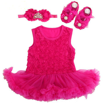 Baby Girl Dress Shoes Baby Headband Set,Vestido Ropa Bebe Menina,Newborn Baby Girl Clothes Set,infant toddler Girl clothing 2017
