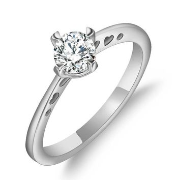 Red Trees Jewellery Real 925 Sterling Silver Rings For Women, Fashion Simple Zirconia Female Wedding Rings Fine Jewelry
